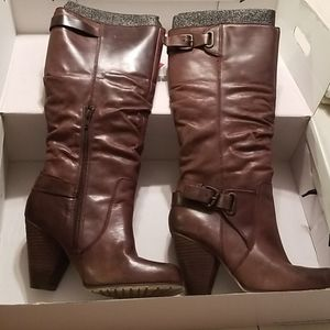 Aldo Brown Leather Heeled Boots